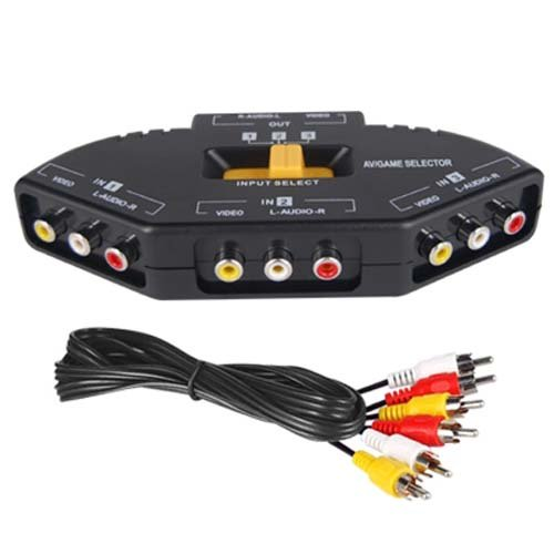 DIGIFLEX AV Cinch Video/Audio Switch Hub mit 3 Input-Anschlüssen für Xbox 360, PS2 & DVD-Player - Cinch verteiler Kabel