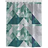 qhtqtt Duschvorhang Türkis Grün Geometrisches Muster Nordischer Stil Duschvorhang Dekorativer Stoff Badezimmer 180X200Cm A