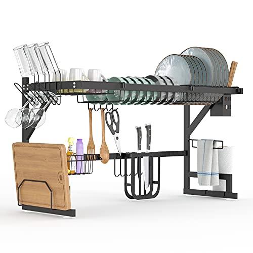 Over Sink Dish Rack - Beefeta Adjustable Large 2-Tier Dish Drainer for Kitchen Organizer Storage Space Saver Shelf Holder - Stainless Steel Dish Dryer Rack ( 30≤ Sink Size ≤ 36 inch