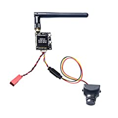 700TVL Resolution, 2.8mm Lens Camera Small size and light weight, Signal System: NTSC VTX has 5V output for camera, no need extra battery for cam. The transmitter has double push buttons for easy changing CH and FR A RTF FPV System for beginners, Sui...