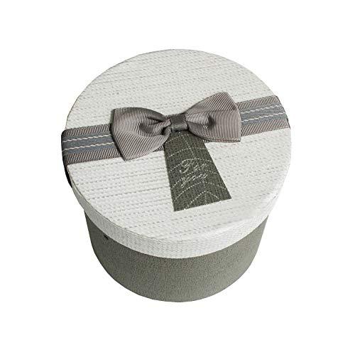 Emartbuy Rígido Lujo Cilíndrico Presentación de Caja de Regalo, Caja Gris Con Tapa Texturizada, Interior Marrón Chocolate y Acabado Decorativo de Cinta