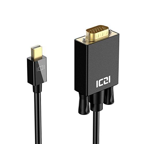ICZI Mini DisplayPort auf VGA Kabel 1,8m, 1080P@60Hz Mini DP zu VGA Verbindungskabel mit Vergoldet Stecker für der Monitoren mit 15-Pin-VGA-Anschluss, Schwarz