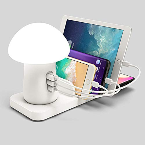 Snelle draadloze oplader LED Mushroom Night Light 3-Port USB-oplader voor iPhone Samsung Huawei Android Qi draadloos laadstation Us Plug