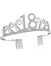 RYTECH Feliz Cumpleaños 18TH, Cristal Cumpleaños Corona, Fiestas de Feliz cumpleaños Favores Decoraciones, Regalo de 18 Cumpleaños