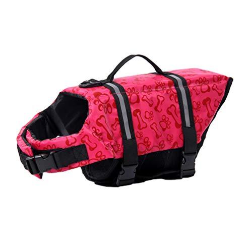 YOUJIAA Rettungswesten Hundeschwimmweste Sicherheit Badeanzug Schwimmweste für Hunde kleine Tiere mit Griff und Reflektoren (Pink Knochenmuster,M)