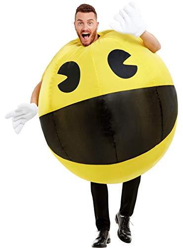 Funidelia | Disfraz de Pac-Man Hinchable Oficial para Hombre y Mujer Talla Estándar ▶ Comecocos, Videojuegos, Años 80, Arcade - Amarillo