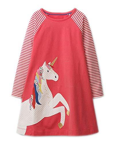 Beilei Creations Mädchen Kleider Baumwolle Karikatur Stickerei Casual Jersey Kleider Gr.85-130 (6Jahre/120cm, Rot Einhorn)