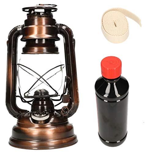KOTARBAU Öllampe Mit Dochthalter Petroleumlampe Befüllbar Set mit Doch & Petroleum Sturmlaterne Tischlampe Laterne Gartenlampe Bronze Stehen Hänge