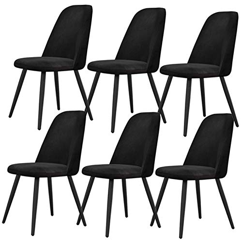 Dining Chairs Set of 6 for Modern Kitchen Dining Room with Black Metal Legs Thick Velvet Fabric Upholstered Seat Office Lounge (Color : Black)