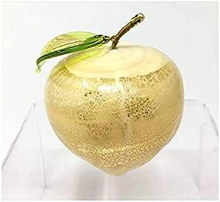Murano Glass Hand Blown Figurine, Ivory Apple