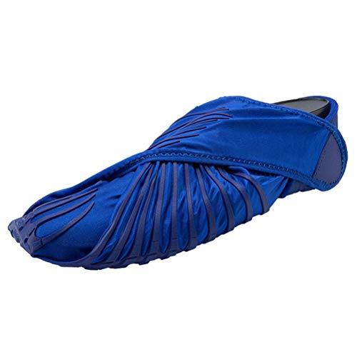 Furoshiki Calzado Deportivo De Yoga para Interiores, Zapatos De Cinta De Correr, Zapatos De Playa Antideslizantes para Hombres, Zapatos De Tela Envueltos,Azul,XL