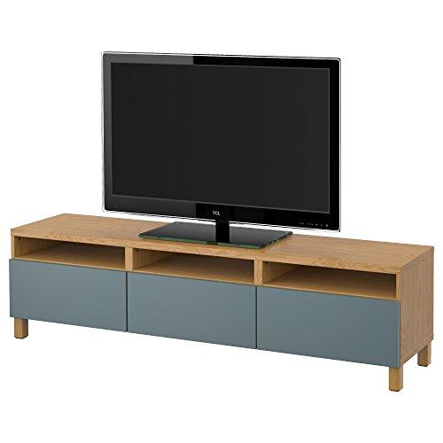 IKEA BESTA - TV Bank met laden eiken effect / valviken grijs-turquoise