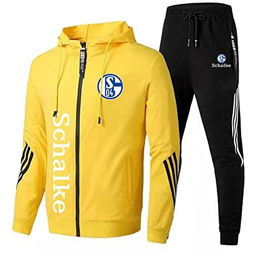 JesUsAvila Herren Trainingsanzug Einstellen Joen Passen Schāīkě Mit Kapuze Postleitzahl Jacke + Hose Jungen/yellow/M