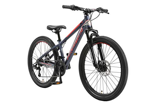 BIKESTAR Kinder Fahrrad Aluminium Mountainbike 21 Gang Shimano, Scheibenbremse ab 9 Jahre | 24 Zoll Kinderrad MTB | Blau Orange