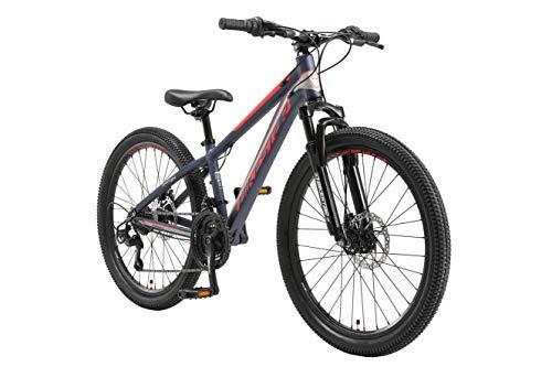 BIKESTAR MTB Mountain Bike 24' Alluminio per Bambini 10-13 Anni | Bicicletta Telaio 12.5 Pollici 21 velocità Shimano, Hardtail, Freni a Disco, sospensioni | Blu
