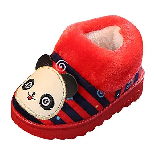 Zapatillas de Estar por casa para Unisex Niños Niñas Invierno PAOLIAN Botas de Nieve Bajos Espesar Además Lana Calientes Zapatos Suela Blanda Talla 26-30 Baratas Calzado Bebes Oso Rojo Otoño