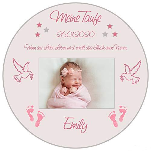 Tortenaufleger Tortenbild Taufe rosa Babyfüsse Taube Sterne Mädchen Wunschtext Foto essbar Ø 20cm 681