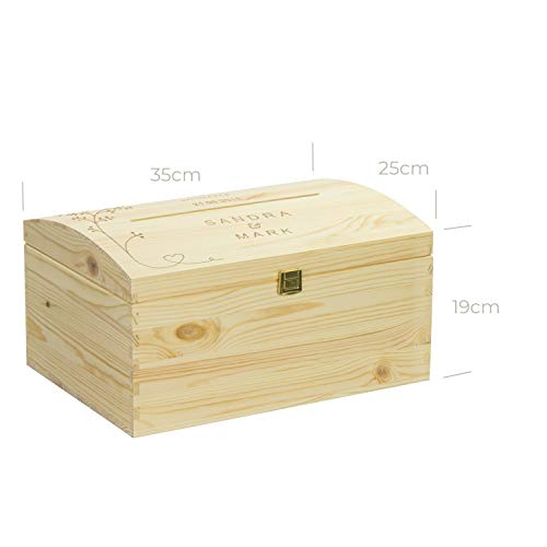 LAUBLUST Holztruhe mit Schlitz zur Hochzeit - Vogel-Pärchen - Personalisierte Geschenkkiste - 35x25x19cm, Natur, FSC® - 8