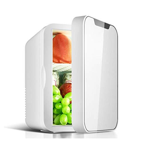 Mini Nevera, Mini Friggues, Casas Casas Pequeño Refrigerador Belleza Cosmética Refrigerador Refrigeradores Y Calores 8 Litros Frigoríficos 12V DC O 240 V CA Almacenamiento De Leche Eléct(Color:blanco)