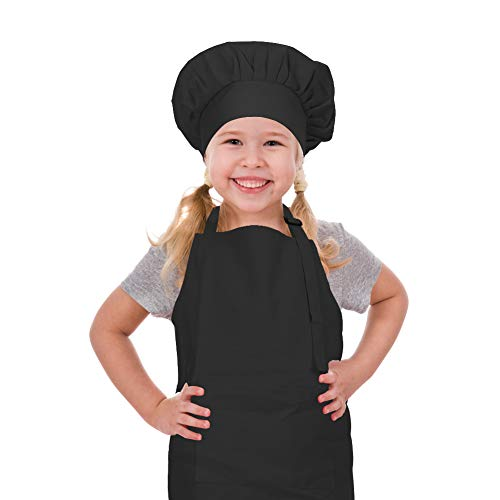 CRJHNS Kids Apron and Chef Hat Set, Adjustable Cotton Child Aprons with Large Pocket Black Girls Boys Kitchen Bib Aprons for Cooking Baking Painting