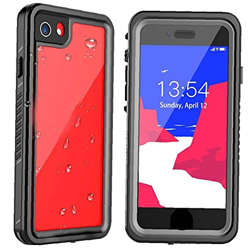 Runfon Teléfono Caja Protectora Compatible con iPhone Se 08.07.2020 absorción de Choque Impermeable de la Caja Negro Claro
