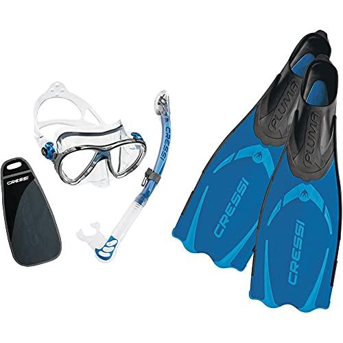 Cressi Big Eyes Evolution & Alpha Ultra Dry Schnorchel Pack de Snorkel (Tubo y Gafas), Color Azul + Pluma Aletas de Buceo, Color Azul (Blue) Tamaño 43/44