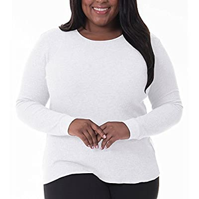 Fruit of the Loom Women's Plus Size Fit for Me Waffle Thermal Crew Top, Medium Grey Heather, 2X
