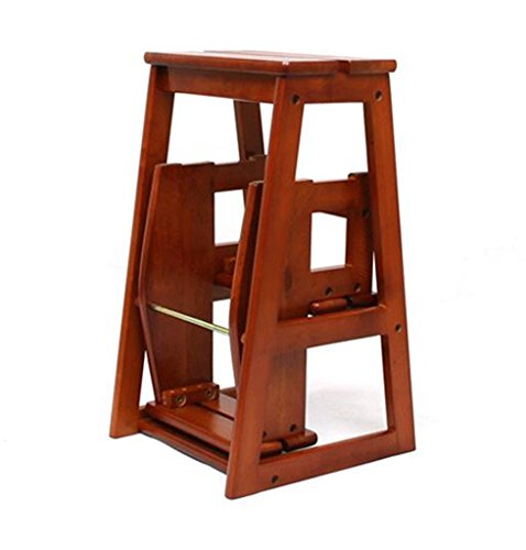 Yxsd ladderkruk, inklapbaar, in 3 stappen, laddertrap multifunctioneel, dubbel gebruik, hout van rubber, kleur honing suiker, 38 x 56,5 x 64 cm