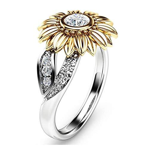 hemker New Women Fashion Sunflower Double-Colors Jewelry Charm Wedding Ring Rings