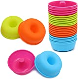 24Pcs Silicone Donut Pans for Baking To encounter Nonstick Round Doughnut Muffin - Cupcake Molds 2.5 ounces Bagel Pan Dishwasher - Oven - Microwave - Freezer Safe