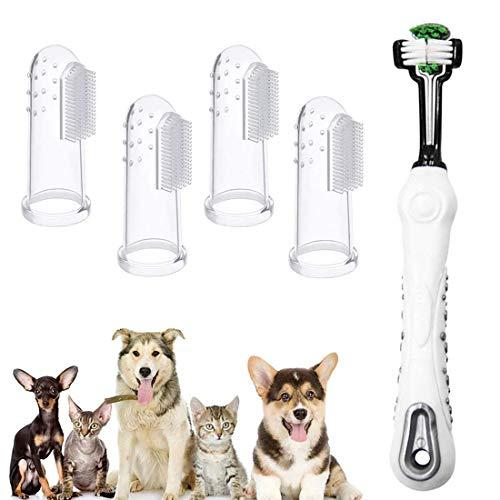 Bigbigjk Hundezahnbürste, Pet Finger Zahnbürste Hund Haustier Zahnreinigung Silikon Hund Zahnreiniger Naturkautschuk Finger Zahnbürsten für die Zahnpflege ür Kleine Hunde und Katze
