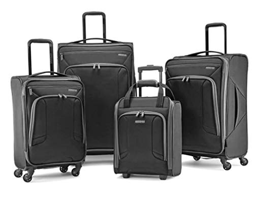 American Tourister 4 Kix Expandable Softside Luggage with Spinner Wheels, Black/Grey, 4-Piece Set (RT/21/25/28)