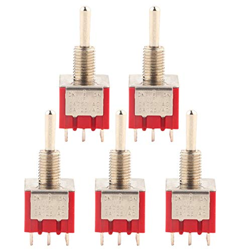 Interrupteur à bascule, 5PCS MTS-303 Mini interrupteur à bascule 3PDT 9 broches 3 positions ON-OFF-ON, taille compacte, léger, facile à assembler et à démonter interrupteur à bascule
