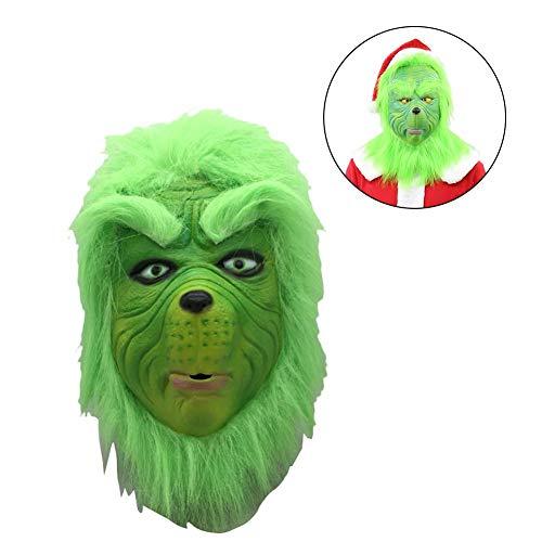 Wintesty Weihnachtsmaske, Weihnachtsmütze Weihnachtskostüm Requisiten Schreckliche Latex-Vollkopfmaske Fashionable