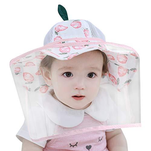 Happy Cherry - Bambino Cappello da Sole con Visiera Protettiva Trasparente Bambini Estivo Berretto da Pescatore Facciale Protezione Cappelli Neonato per Anti-sputi Anti-UV Antipolvere - 0-6 Mesi