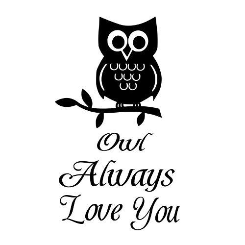 ZQZL Car Stickers 9.3CM*15.9CM Owl Loves You Forever Vinyl Black/Silver Fun Car Sticker
