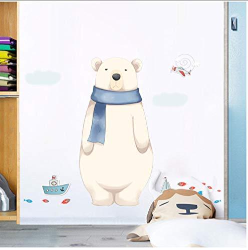 JHLP Cartoon Leuke Sjaal Beer Muursticker voor Kinderen Babykamers Kwekerij Witte Beer Schip Boot Muur Decals DIY Mural Art Home Decor