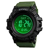 Compass Watch Army, Digital Outdoor Sports Watch for Men Women, Pedometer Altimeter Calories Barometer Temperature Waterproof …