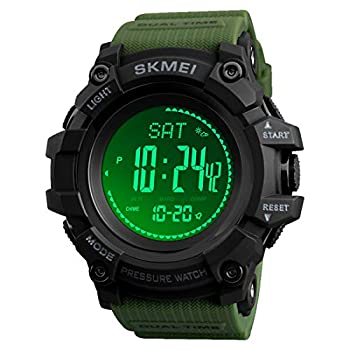 Compass Watch Army Digital Outdoor Sports Watch for Men Women Pedometer Altimeter Calories Barometer Temperature Waterproof …