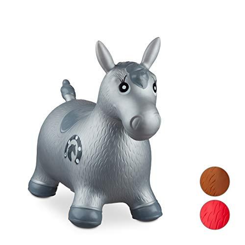 Relaxdays 10024991_111, grau Hüpftier Pferd, inklusive Luftpumpe, Hüpfpferd bis 50 kg, Hüpfpony BPA frei, für Kinder, Hüpfspielzeug