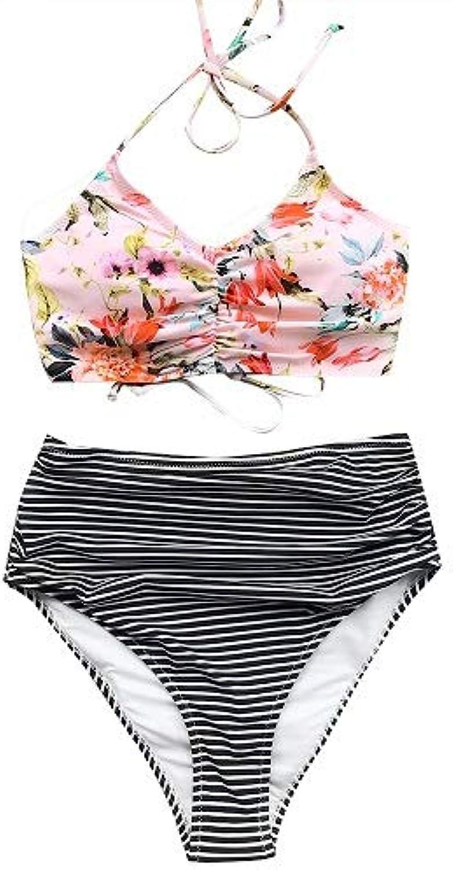 CUPSHE Attract Your Attention Halter Bikini Set Back Lace up Swimsuit Bathing Suit Brazilian Biquini Monokini Maillot De Bain color Pink Size S