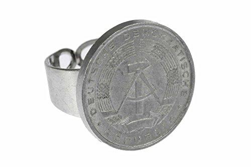 Miniblings 10 Pfennig DDR Ring Groschen Ostalgie Retro Münze Hammer Sichel neu - Handmade Modeschmuck I Fingerring mit Motiv I verstellbar one Size