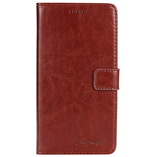 TienJueShi Brown Flip Book-Style Brief Leder Tasche Schutz Hulle Handy Hülle Abdeckung Fall Wallet Cover Etui Skin Fur Phicomm Energy 3+ 5.5 inch