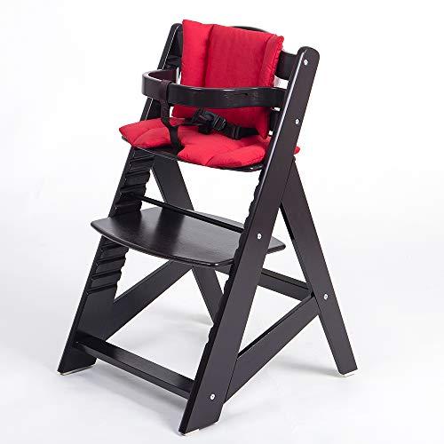 TIGGO Hochstuhl ab 6 Monaten bis 10 Jahre - Treppenhochstuhl mitwachsend - Kinderhochstuhl - Buchenholz massiv - Babyhochstuhl - 32116-01 d´braun/rot