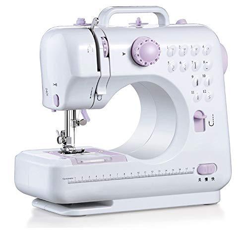 Máquina de Coser eléctrica portátil Escritorio del hogar Máquina de Coser eléctrica Mini Máquina Selvedge Ligero (Color : White, Size : 28X12X24cm)