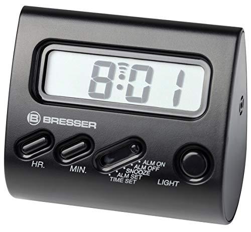 Bresser Wecker Yo-Yo mit LCD Display, Hintergrundbeleuchtung, Alarm und Tipp-Funktion zur Aktivierung/Deaktivierung der Schlummerfunktion, schwarz