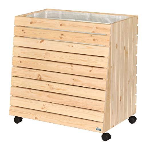 WAGNER GreenFAMILY - Mobiles Hochbeet - GreenBOX - Gr. XL - Nadelholz massiv, FSC®, Natur, 79 x 80 x 53/43 cm, 4 Rollen, 2 Feststeller, Stauraum-Klappe, inkl. Pflanztasche - 25014101