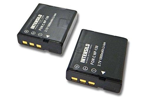 INTENSILO 2x batteria compatibile con Casio Exilim EX-ZR700, EX-ZR710, EX-ZR800 fotocamera digitale DSLR (1800mAh, 3,7V, Li-Ion)