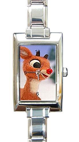 Weihnachtliche Armbanduhr mit Rentier, Rudolph der rote Nase, rechteckig, kleines Handgelenk