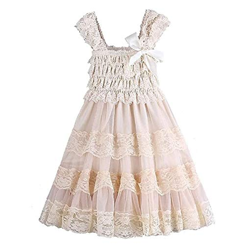 Ever Fairy Lace Flower Rustic Burlap Girl Baby Country Wedding Flower Dress, Champagne, Size M, 12-24months